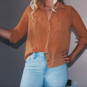 Orange Sheer Button Down